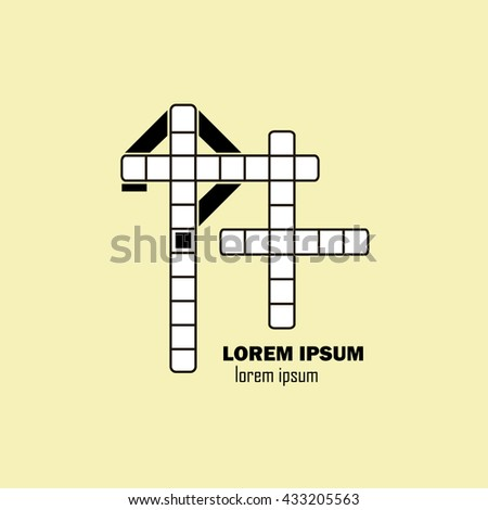 An empty crossword template with question mark, vector illustration, logo design - stock vector