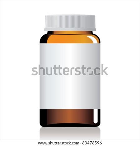 An empty glass bottle of pills. - stock vector