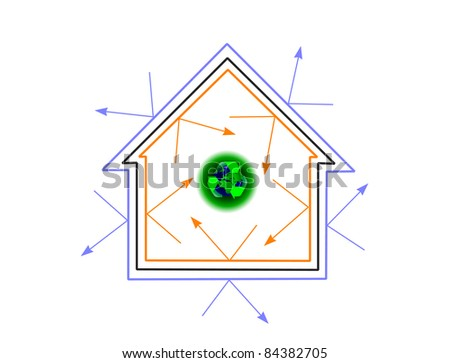 An energy efficiency concept house vector showing how energy efficiency can protect the planet - stock vector