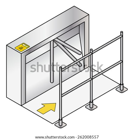 "An entry turnstile / automated gate. Traffic and crowd control. With a ""tap here"" security card reader.  - stock vector"