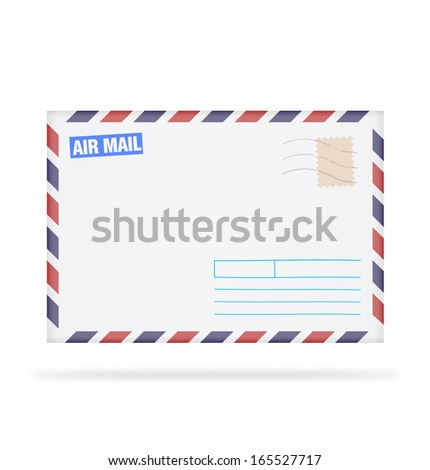 An envelope with stamps on white background. Vector illustration. Realistic. Air mail. - stock vector