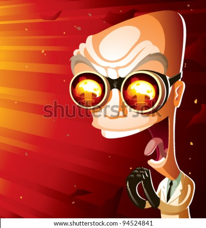An evil scientist laughing maniacally, bathed in the glow of a giant nuclear mushroom cloud. Scientist is an older, bald, caucasian man—60s-style mad scientist caricature. CMYK vector image. - stock vector