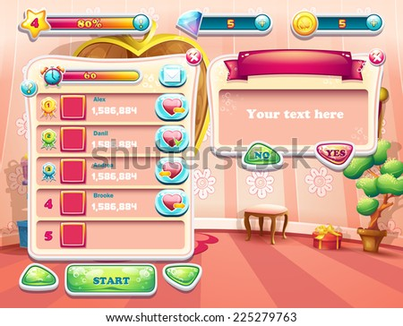 An example of one of the screens of the computer game with a loading background bedroom princess, user interface and various element. Set 2 - stock vector