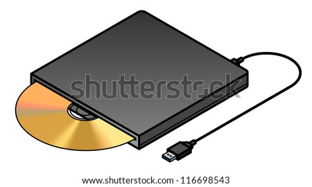 An external USB slot loading optical drive. - stock vector