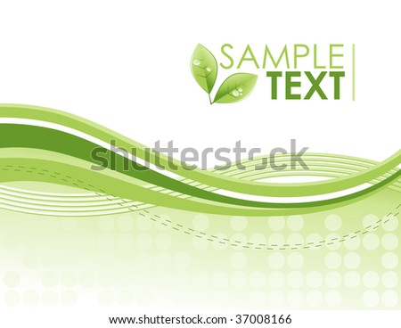 An green eco friendly wave, swirl pattern background with bright green colors. The swirls are flowing from left to right and there is a green leaf plant with water drops on it. - stock vector