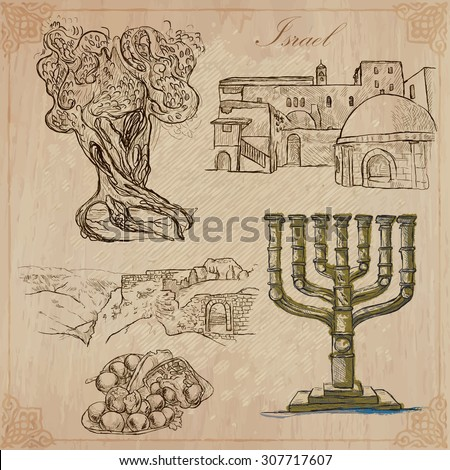 An hand drawn collection, Travel - ISRAEL. Description, Vector freehand sketches. Editable in layers and groups. Background is isolated. (Things, buildings, etc. are named inside the file. - stock vector