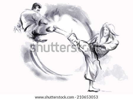 An hand drawn converted vector in calligraphic style from series Martial Arts: KARATE. Karate is a martial art developed in the Ryukyu Islands (Okinawa), Japan. - stock vector