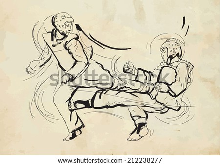 An hand drawn converted vector (in calligraphic) style from series Martial Arts: TAEKWON-DO (is a Korean martial art. It combines combat and self-defense techniques with sport and exercise). - stock vector