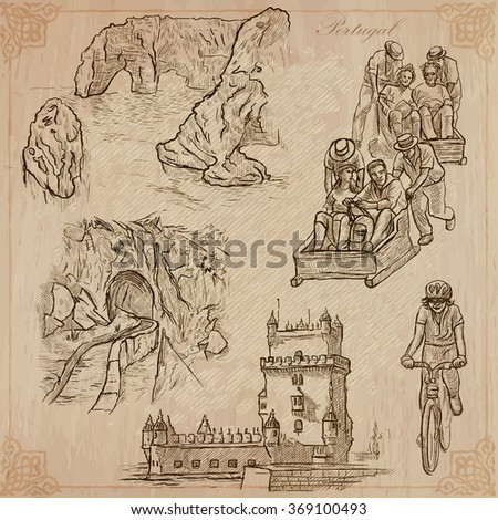 An hand drawn pack, Travel - PORTUGAL, Pictures of Life. Description - Vectors, freehand sketching. Editable in layers and groups. Background is isolated. All things are named inside the vector file. - stock vector