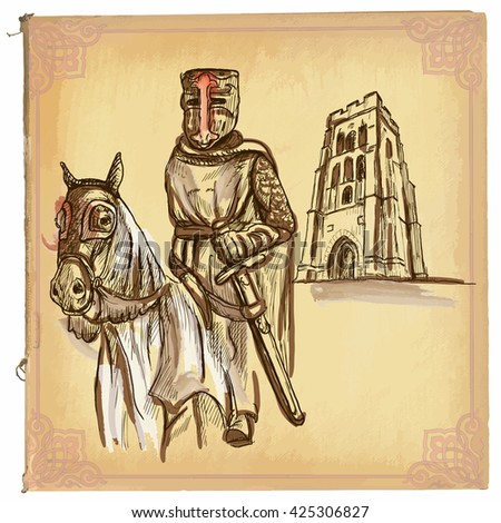 An hand drawn vector illustration, colored line art. KNIGHT on horse. Freehand sketch of an medieval hero. Knight, in the forefront of old English abbey. Hand drawn vector is editable in groups. - stock vector