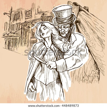 An hand drawn vector - JACK THE RIPPER and his victim. An killer with the knife threatening a young woman in old London city - line art. Vector is editable in groups and layers - freehand sketching. - stock vector