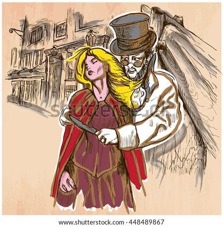 An hand drawn vector, JACK THE RIPPER and his victim. Killer with the knife threatening a young woman in old London city - colored line art. Vector is editable in groups and layers. Freehand sketching - stock vector