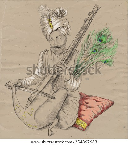 An hand drawn vector. Theme: Music and Musicians. TAUS PLAYER - An Indian Raja plays the Taus. An hand drawn converted vector. Editable in layers and groups. The colored background is isolated. - stock vector