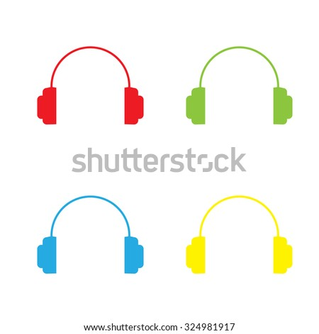 An Icon Isolated on a White Background in a Variety of Colours - Headphones - stock vector