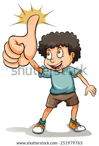 An idiom about a boy showing his thumb on a white background - stock vector