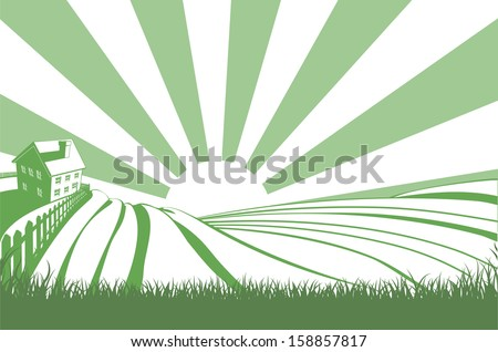 An idyllic farm landscape with farmhouse and rolling hills with sunrise over the fields - stock vector