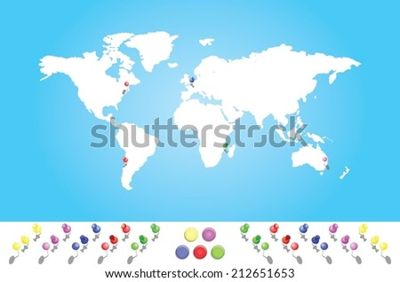 An Illustrated map of the world with all continents - stock vector