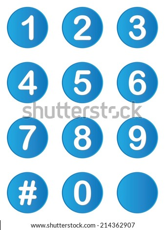 An Illustrated set of buttons with numbers on - stock vector