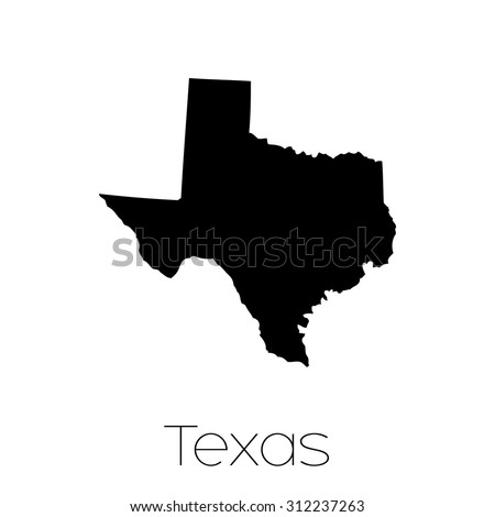 An Illustrated Shape of the State of Texas - stock vector
