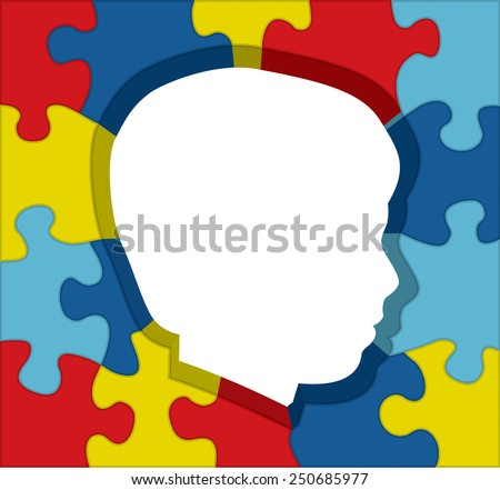 An illustration for autism awareness of colorful puzzle pieces outlining a child's silhouette. Vector EPS 10. - stock vector