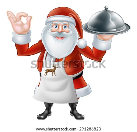 An illustration if a Cartoon Santa Claus chef or cook character wearing an apron holding a plate or platter of food - stock vector