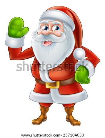 An illustration if a happy Cartoon Santa Claus character waving - stock vector