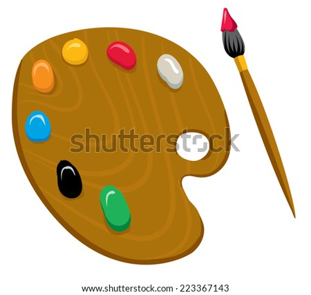 An Illustration of a Artist Palette Primary colors - stock vector