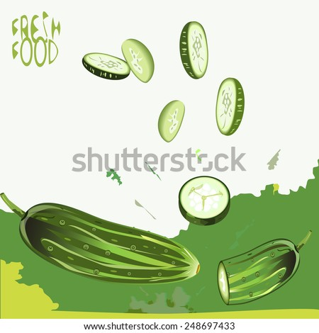 "an illustration of a background of fresh cucumber, whole and sliced, splashed with juice, with a ""Fresh food"" sign - stock vector"