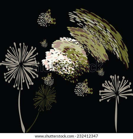 An illustration of a background, pattern of fluffy abstract flowers and seeds. - stock vector