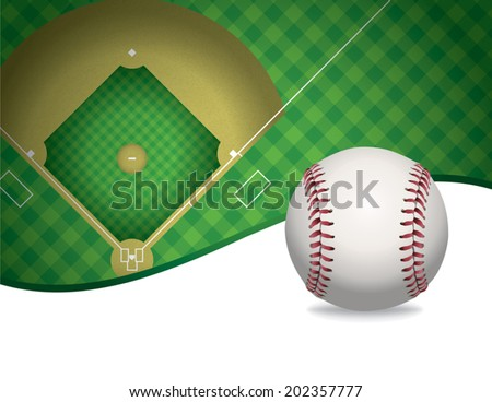 An illustration of a baseball and baseball field. Room for copy. Vector EPS file contains transparencies. - stock vector