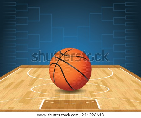 An illustration of a basketball on a court and a tournament bracket in the background. Vector EPS 10. EPS file is layered and contains transparencies. - stock vector