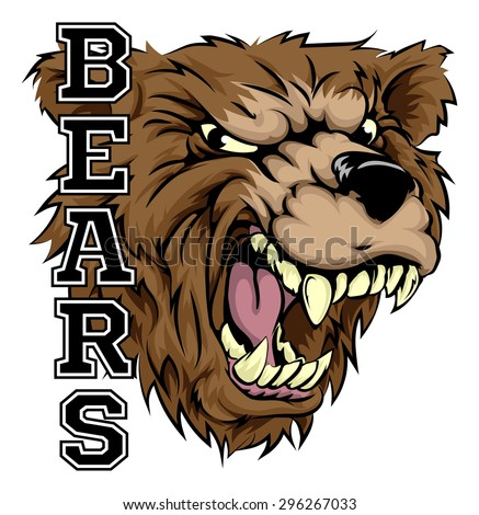 an illustration of a bear sports mascot head with the word Bear Claws Ripping Through Bear Claw Scratch Drawing