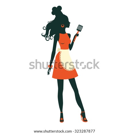 An illustration of a beautiful cooking woman holding spatula - stock vector