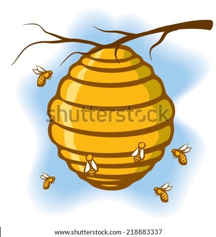An Illustration of a beehive suspended from a tree with bees around it - stock vector