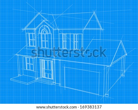 An illustration of a blueprint for an new house under construction - stock vector