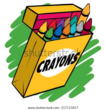An illustration of a box of crayons normal colors. - stock vector