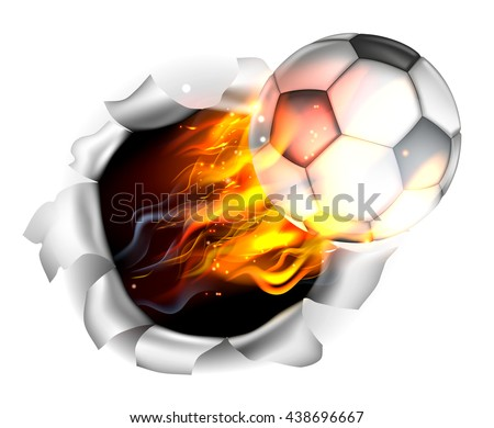 An illustration of a burning flaming Soccer Football ball on fire tearing a hole in the background - stock vector