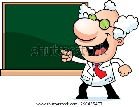 An illustration of a cartoon mad scientist with a chalkboard. - stock vector
