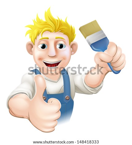 An illustration of a cartoon painter holding up a paintbrush and giving a thumbs up - stock vector