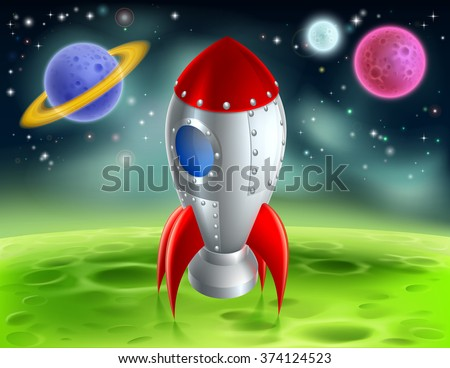 An illustration of a cartoon retro space rocket ship or space ship landed on a moon or planet with alien planets and stars in the background - stock vector