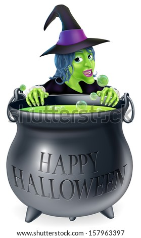 An illustration of a cartoon witch looking over her cauldron with a Happy Halloween message on it - stock vector
