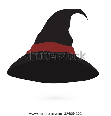 An illustration of a cartoon witch's hat with red ribbon Vector - stock vector