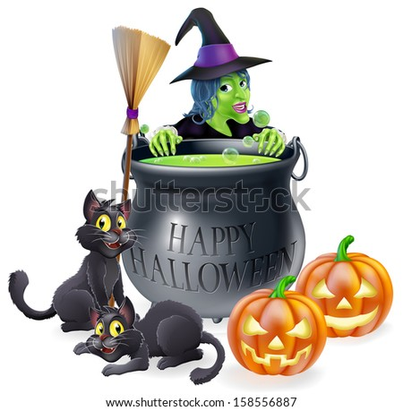 An illustration of a cartoon witch with cats, pumpkins and bubbling cauldron filled with green witch's brew - stock vector