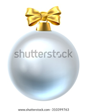 An illustration of a Christmas tree bauble decoration ornament with a gold ribbon bow - stock vector