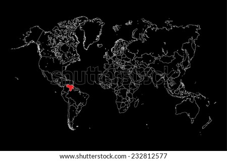 An Illustration of a colourfully filled outline of  Venezuela - stock vector