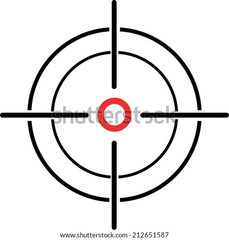 An Illustration of a crosshair reticle on a white background - stock vector