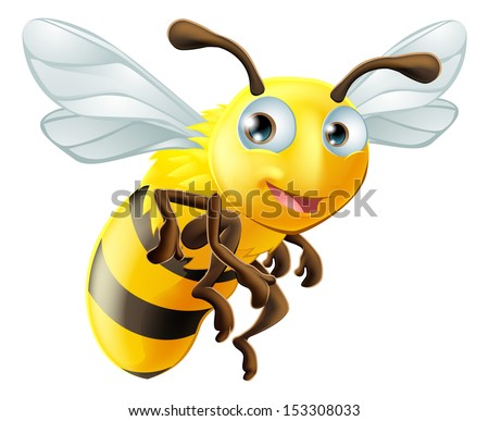 An illustration of a cute cartoon bee - stock vector