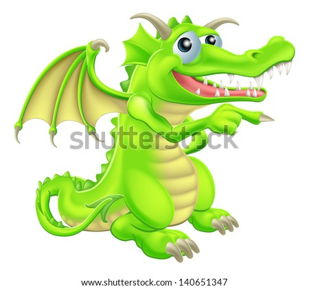 An illustration of a cute cartoon dragon mascot standing and pointing - stock vector