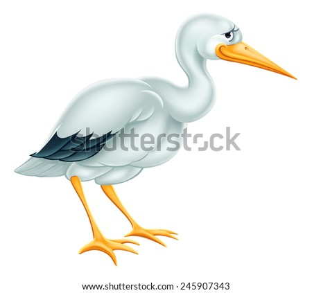 An illustration of a cute cartoon Stork bird character - stock vector