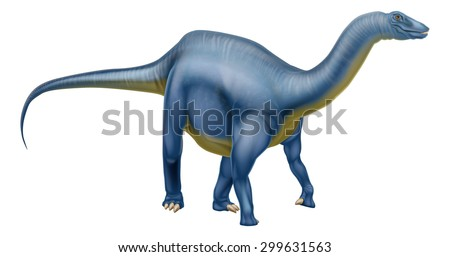 An illustration of a Diplodocus dinosaur from the sauropod family like brachiosaurus and other long neck dinosaurs. What we used to call brontosaurus - stock vector